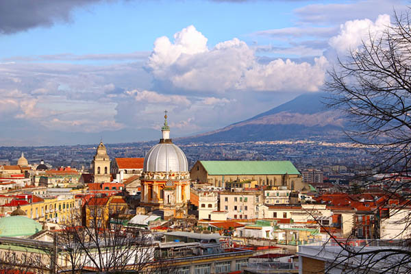 Naples old town and Mount Vesuvius, Italy